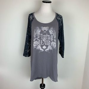 Free People Flying Wild Graphic Tee Tunic Gray